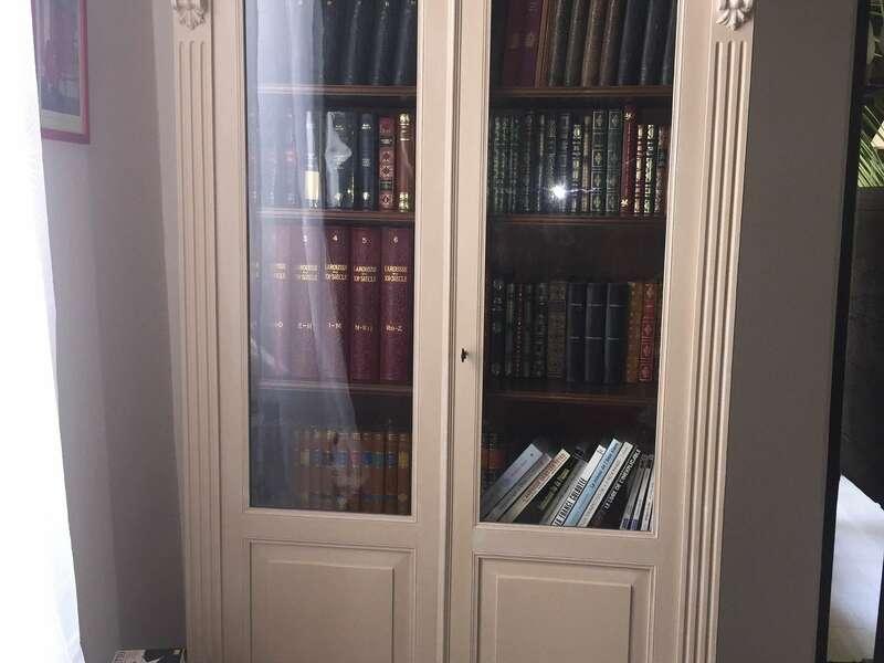 Armoire bibliothèque Patine Color'Mat Sable poudré Blanc