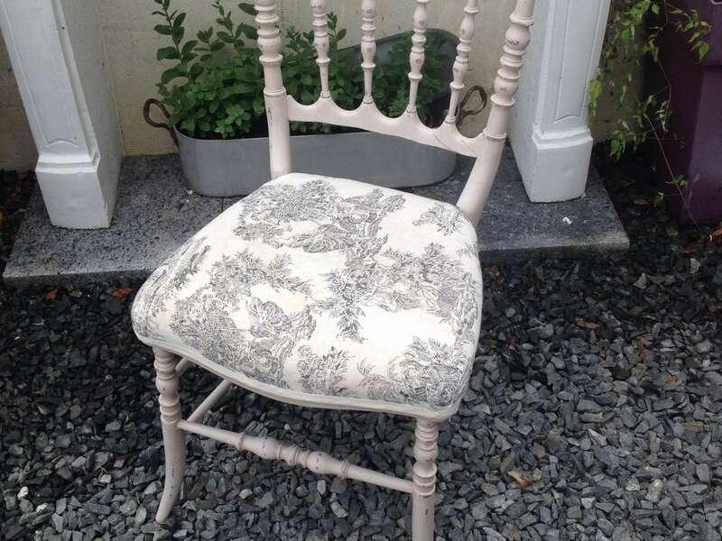 Chaise style Napoléon Patine Color'Mat Angora et Quartz shabby bois