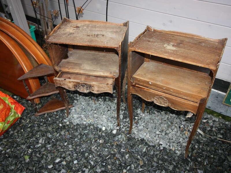Lot deux chevets placage chêne foncé - 30€