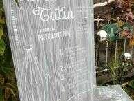 Tableau médium décor faux bois et transfert à sec recette TARTE TATIN - 65€
