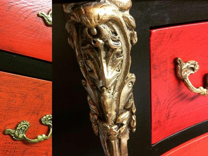 Détail patine et bronze sur semainier