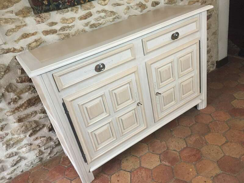 Buffet campagnard chêne massif Patine Shabby chic Color'Mat Nuage et Sable