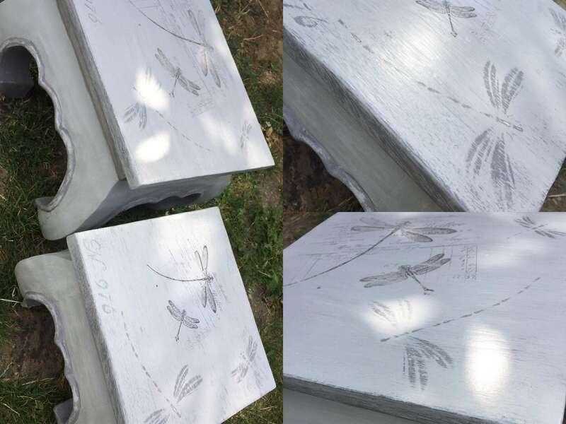 Tables gigogne bois exotique patinées et personnalisées au pochoir et transfert d'image