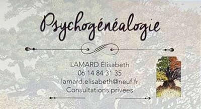 Psychogénéalogiste : Élisabeth Lamard   06 14 84 31 35  lamard.elisabeth@neuf.fr