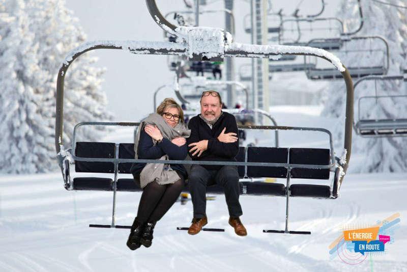 Fond vert incrustation station de ski - 2017