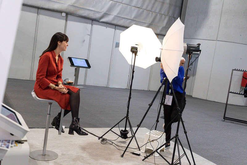 Studio photo installé à l'entrée du Salon RH à Genève
