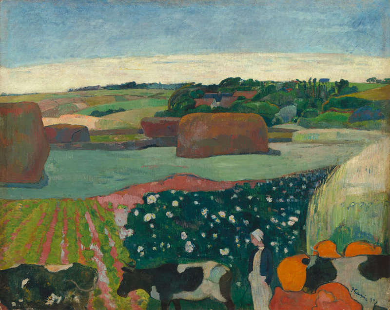 Haystacks in Brittany, Painting (1890), National Gallery of Art.
