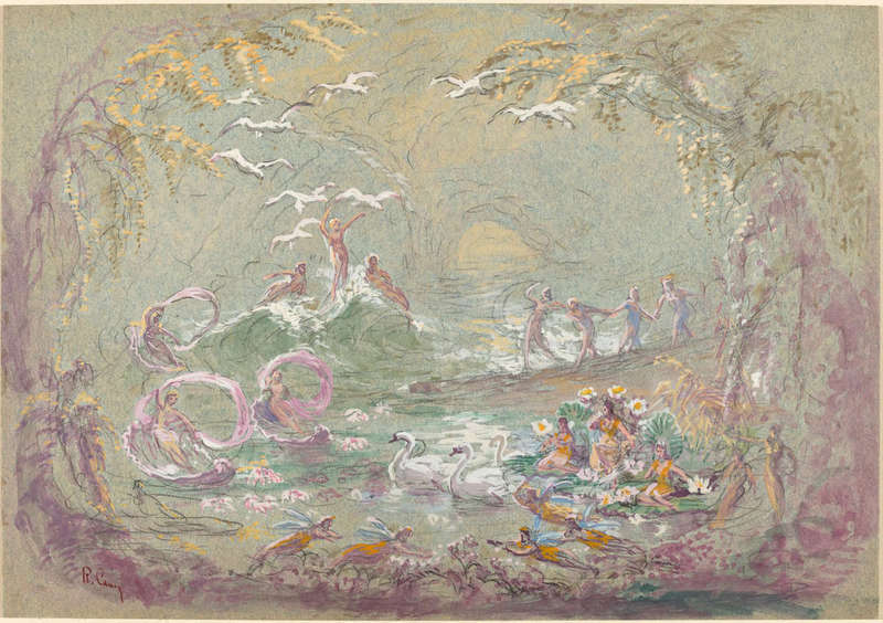 Lake Scene with Fairies and Swans, Drawing, Joseph F. McCrindle Collection, National Gallery of Art.