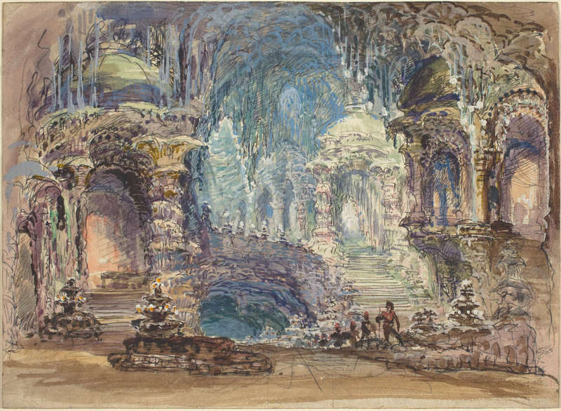 Fantastic Pavilions in a Grotto, Drawing, Joseph F. McCrindle Collection, National Gallery of Art.