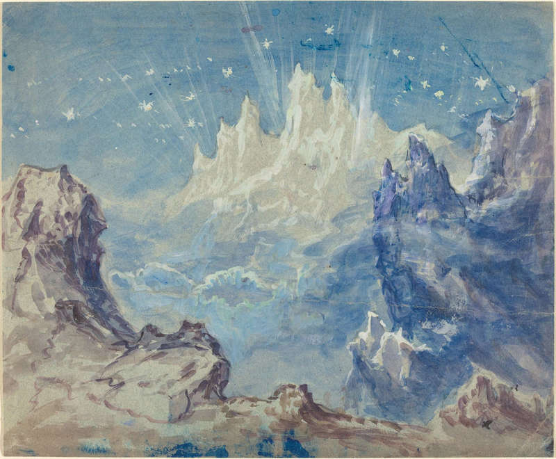 Fantastic Mountains Landscape with a Starry Sky, Drawing, Joseph F. McCrindle Collection, National Gallery of Art.