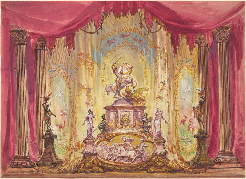 Stage Set with Statue of St. George Slaying The Dragon, Drawing, Joseph F. McCrindle Collection, National Gallery of Art.