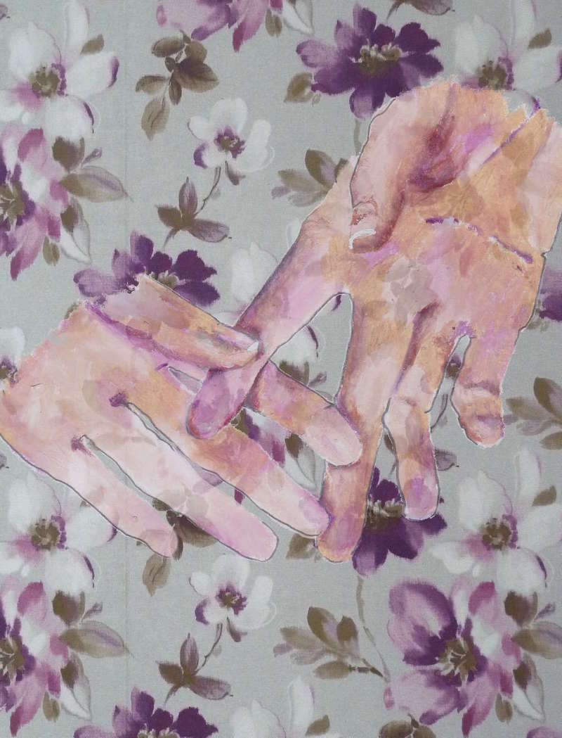 Hands on Floral Wallpaper, Fashion Illustration (2015), Manon Planche.