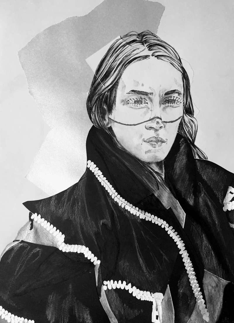 The Black Coat I, Fashion Illustration (2015), Manon Planche.