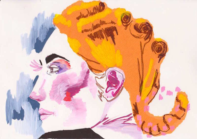 Red Hair, Pink Make Up, Fashion Illustration (2014), Manon Planche.