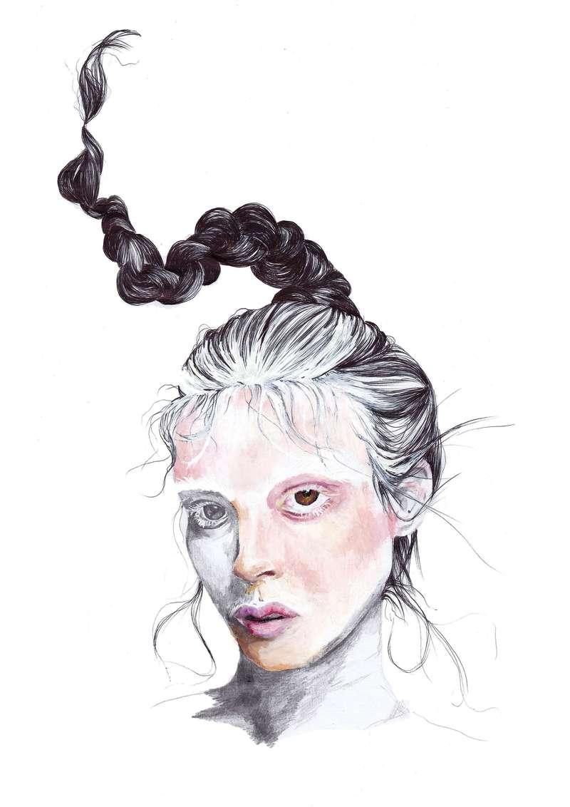 White Out Face, Fashion Illustration (2014), Manon Planche.