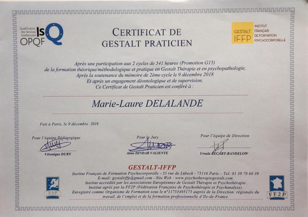 diplome praticien gestalt Marie-Laure Delalande, gif sur yvette