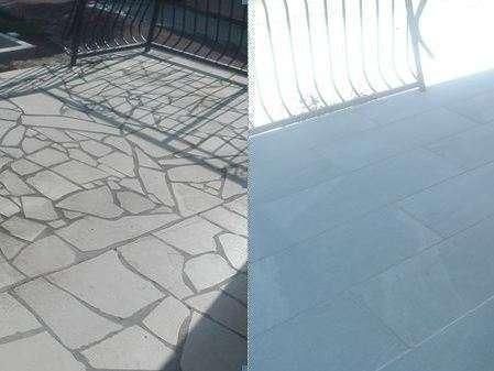 Rénovation terrasse avec retrait pierre de bavière en opus et remplacement par dalles grès cérame 45/90