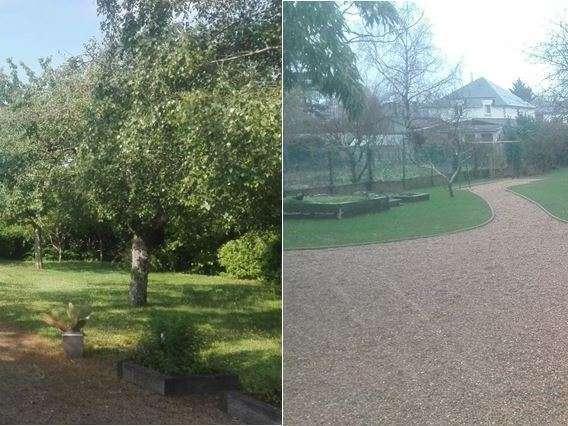 Refonte complète du jardin, avec création d'allées avec bordures, engazonnement, création zone de rangement..etc