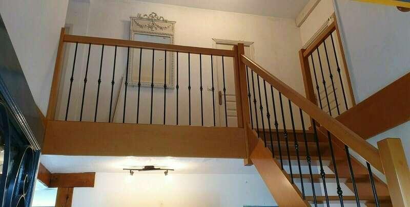 Escalier 1/4 tournant en hêtre, balustres barreaux fer - No 5  Escalier sur mesure Stéphane LESEUR - Seine Maritime