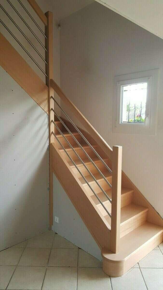 Escalier 1/4 tournant en hêtre, balustre tubes inox - No 6 Escalier sur mesure Stéphane LESEUR - Seine Maritime