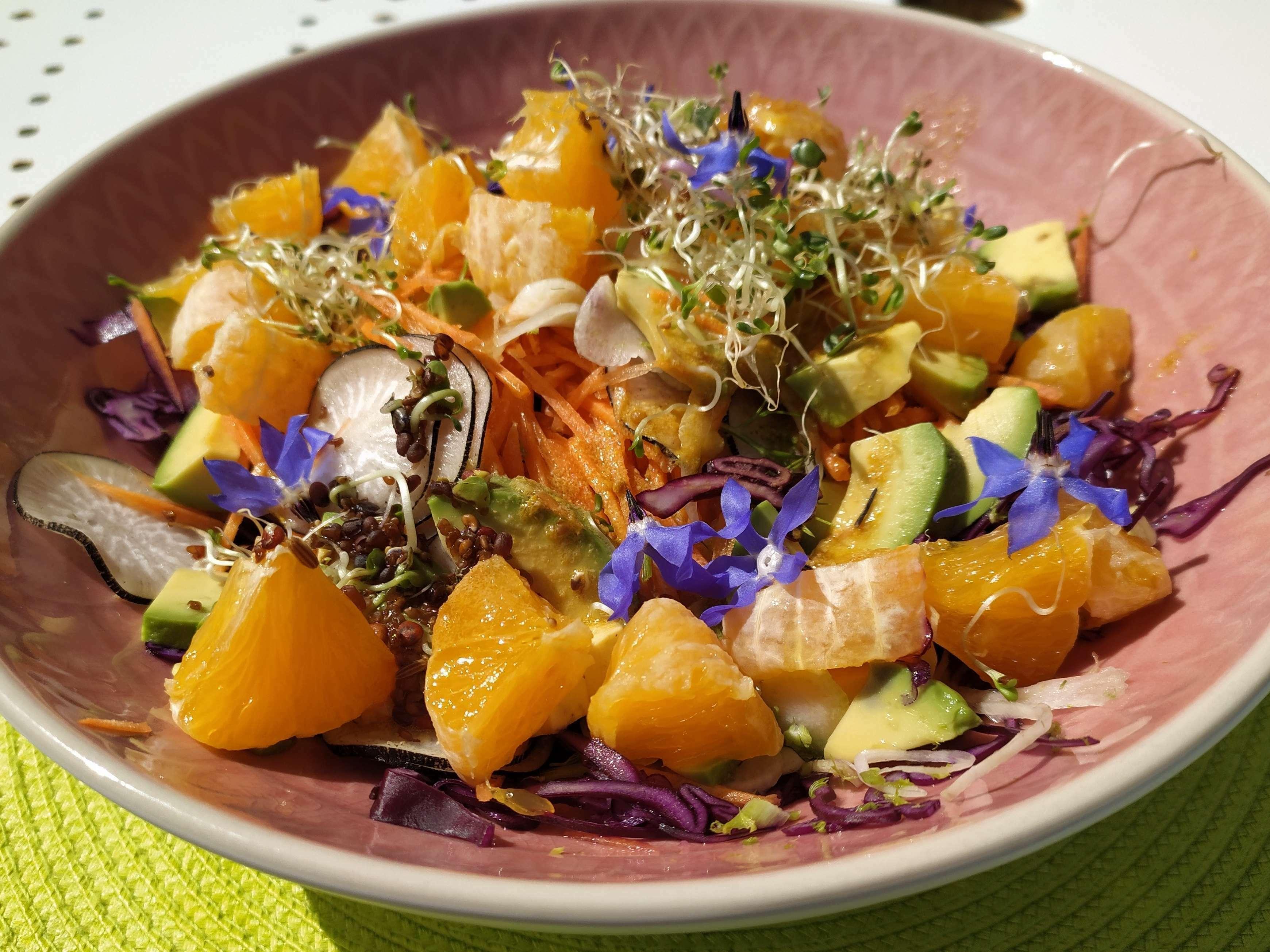 Salade de chou rouge, avocat, orange, graines germées, fleurs de bourrache ...