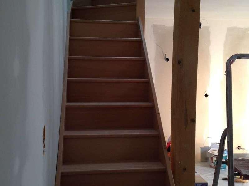 Pose d'un escalier après décalage de trémie