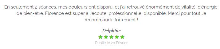 Témoignage de Delphine sur les soins en médecines douces de Florence Chanel dans le 43