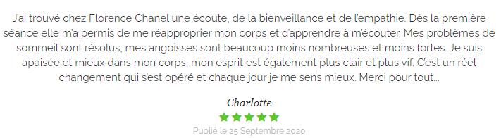 Témoignage de Charlotte sur les soins en médecines douces de Florence Chanel à Brioude