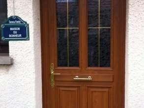 Porte d'entrée PVC PLAXE BOIS Fourniture et pose avec dormant conservé et habillage