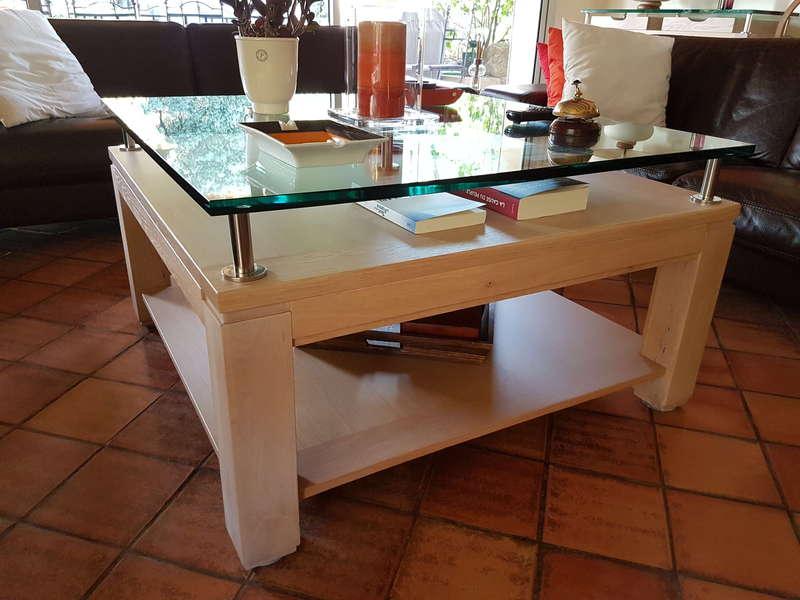 Table basse chêne blanchi et verre