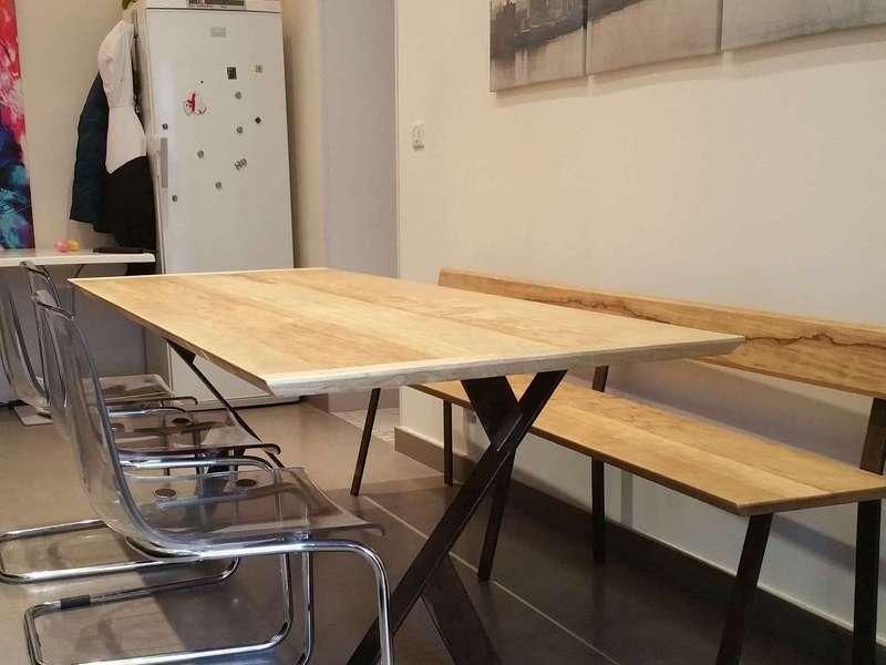 Table bois et acier noirci