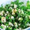 Salade de feves et petits pois, vinaigrette à la menthe