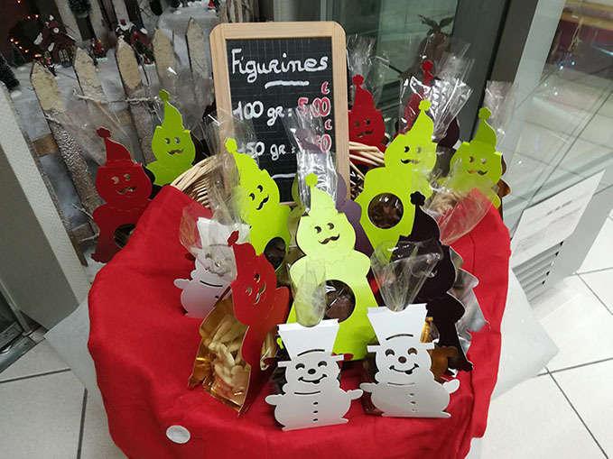 Sachets figurines chocolats Noël