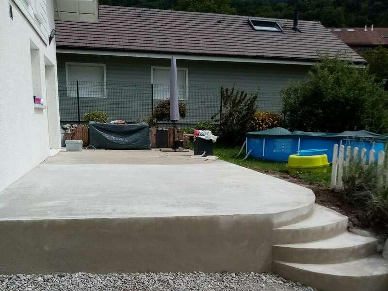 Agrandissement terrasse, finition béton brut