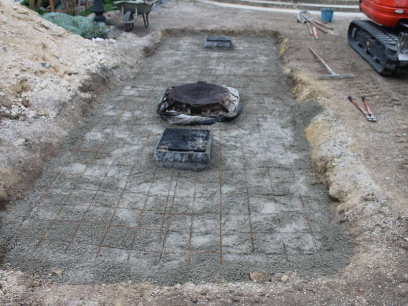 Mise en place de la dalle béton répartition pour passage VL