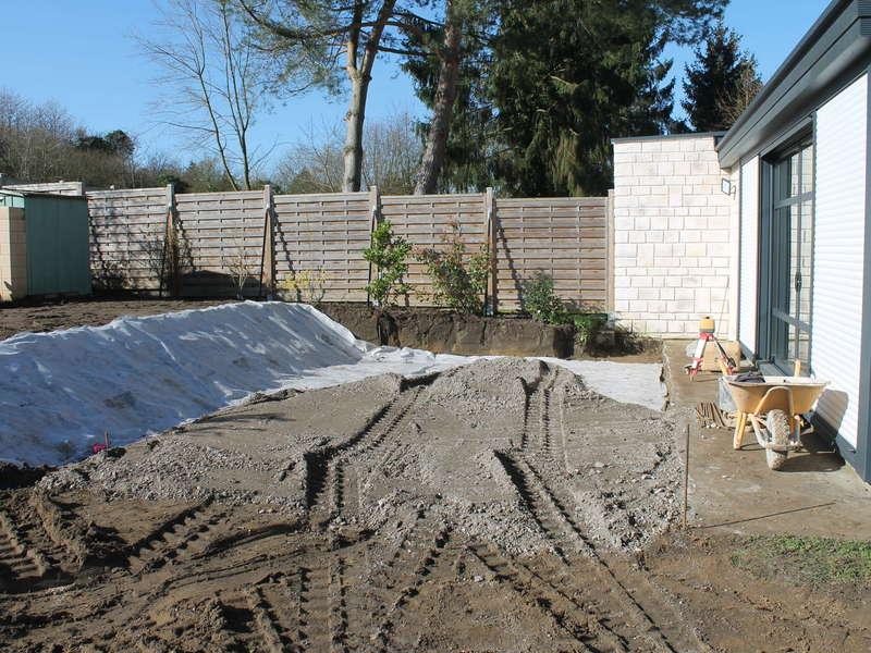 Aménagement en gabion pour délimitation d'une future terrasse