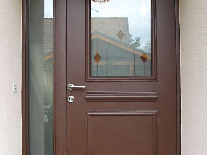 Porte aluminium Marron texturé, modèle TOPAZE avec semi-fixe vitré à Choisy (74330)