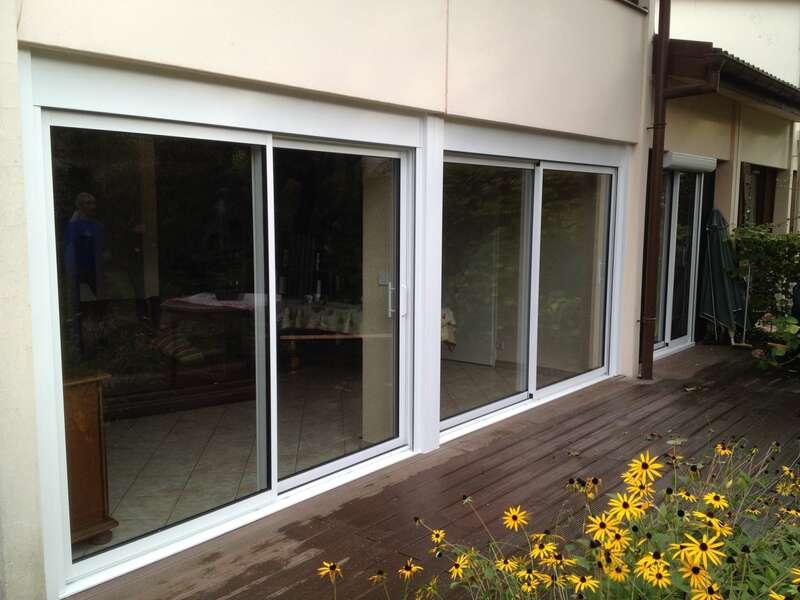 Après : Coulissants 2 vantaux aluminium Blanc (vue extérieure)