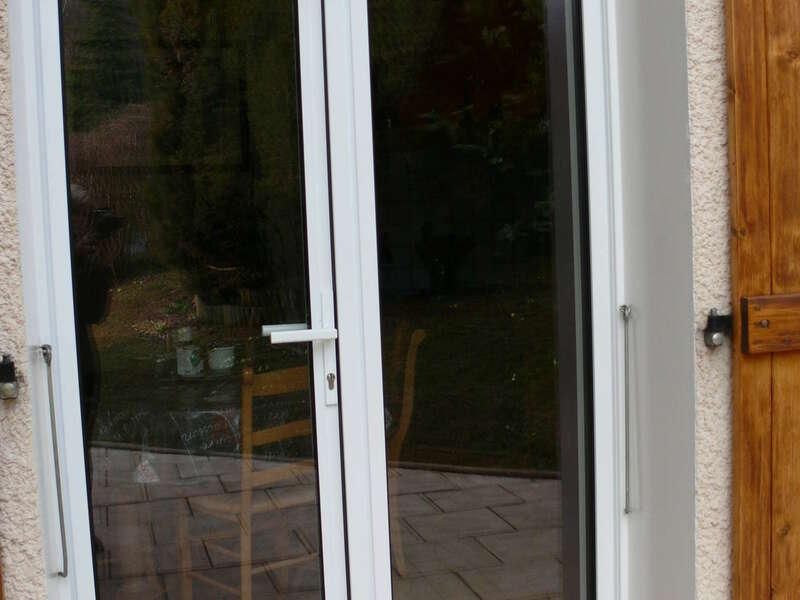 Porte-fenêtre serrure en aluminium Blanc