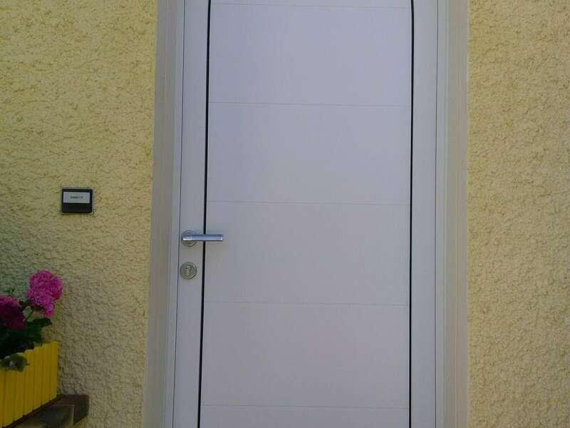 APRÈS : Porte mixte cintrée Blanc satiné à Amancy