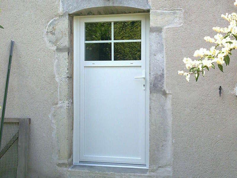 Porte d'entrée en PVC Blanc