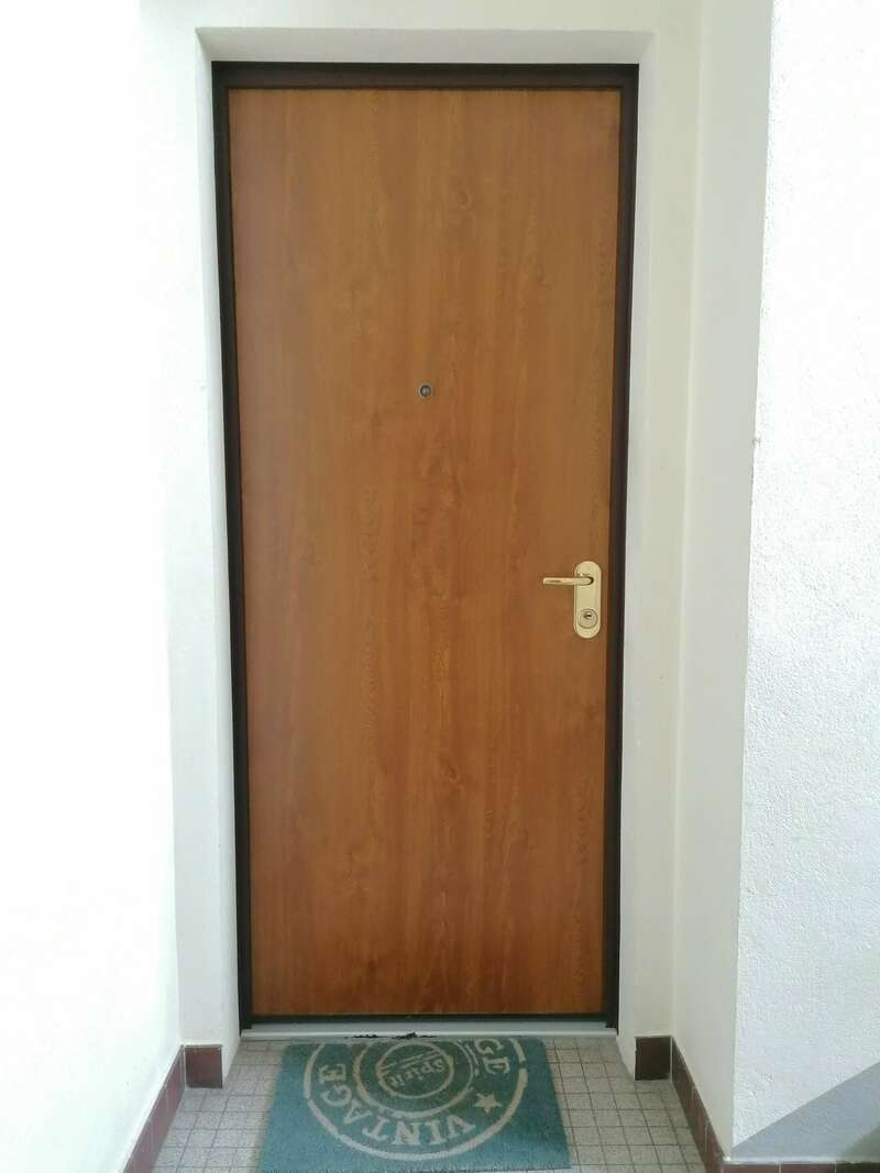 Porte palière de sécurité chêne doré