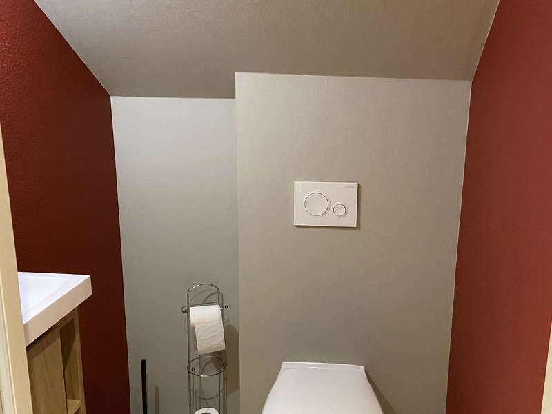wc peinture, toilette peinture, wc rouge, toilette rouge