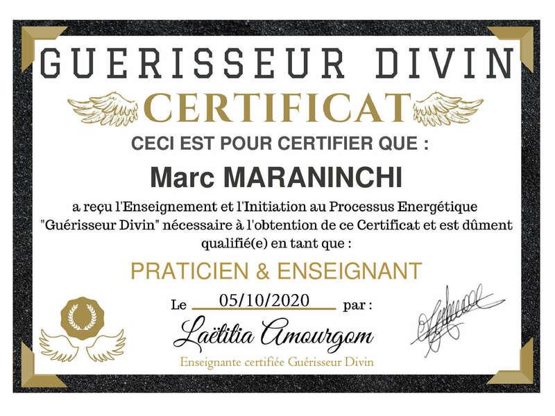 Certification guérisseur divin