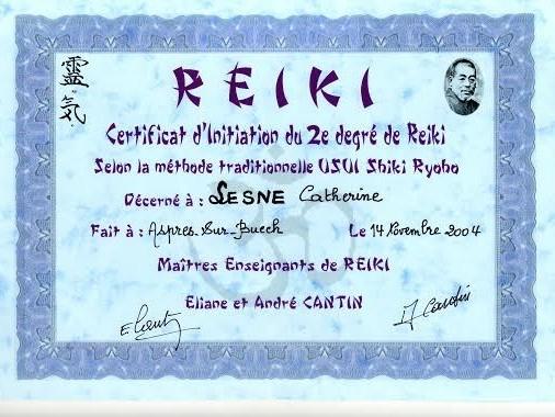 Diplôme de Catherine Lesne - Massages & Soins énergétiques - Saint-Priest