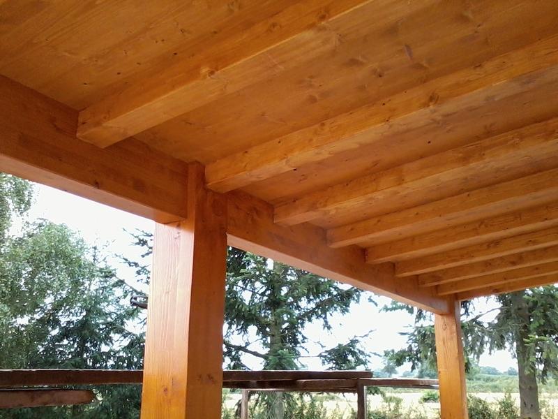Véranda avec chevrons et plafond bois apparents.