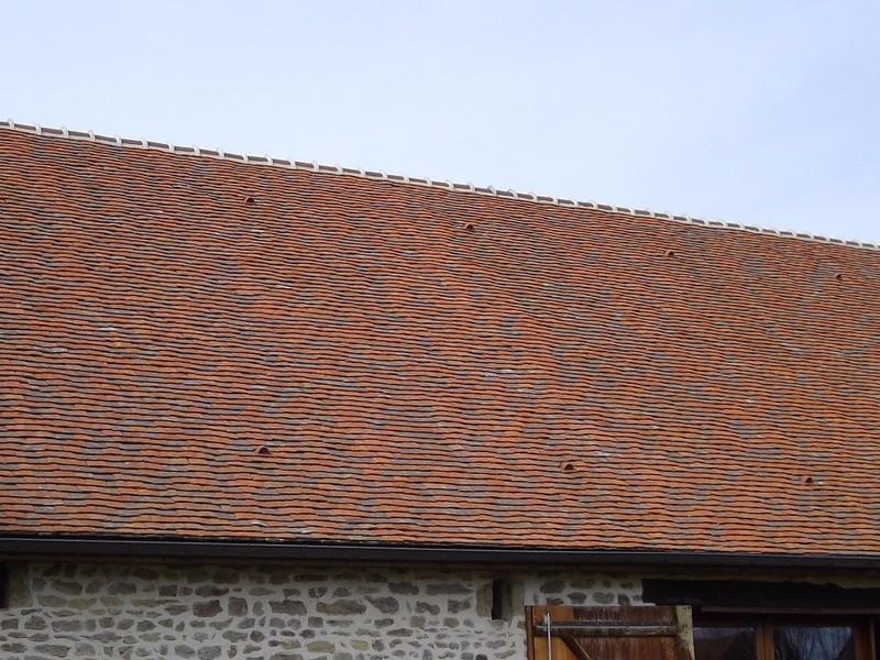 Ancien corps de ferme réhabilité couvert avec tuiles plates anciennes et neuves panachées.