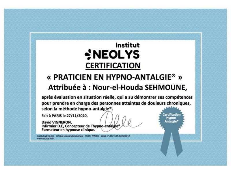 certification_praticien_hypno_antalgie_nour-el-houda_sehmoune