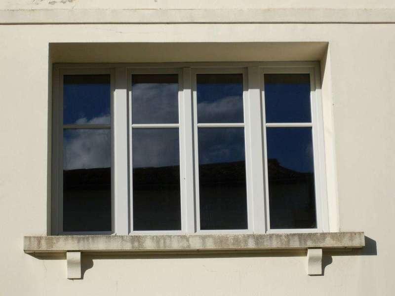 """Fenêtre 4 vantaux en bois peint (mélèze) Style """"atelier"""""""
