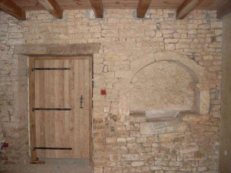 Porte de buanderie en frêne fourni par le client Fabrication sur mesure, inversion du sens du loquet poussier